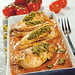 kycklingfile i ugn krossade tomater
