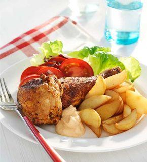 kyckling och klyftpotatis